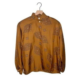 Vintage Christian Dior Paisley Silk Button Up Top